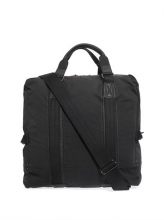 High quality big size fancy foldable black canvas leather travel bag