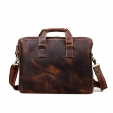 Top sales good quality crazy horse leather mens laptop briefcase