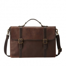 OEM new arrival vintage genuine leather briefcase messenger laptop bag for men