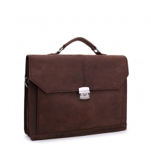 China factory oem dark brown genuine leather business laptop bag briefcase for man