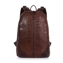 New design trendy aligator texture cow leather school laptop backpack for men