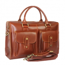 Hot selling good quality reddish brown leather business laptop messenger bag