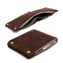 Fashion design trendy style minimalist genuine cowhide leather zipper credit card wallet for men