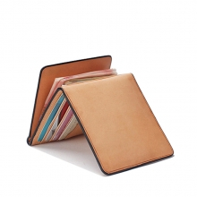 Japanese style trendy handmade vegetable tanned leather money clip wallet