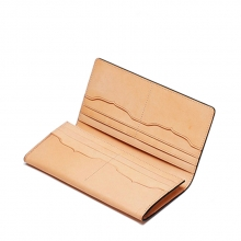 Low price vintage style ladies pars hand vegetable tanned leather woman wallet