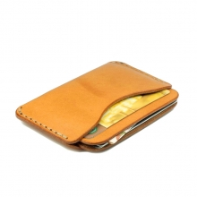 Hot selling durable handmade vegetable tanned leather id card holder