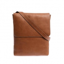 Hot selling daily use tan color full grain leather cell phone single shoulder bag