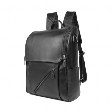Factory price good quality black leather laptop bag men backpack with USB charger