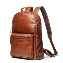 Newest design factory price brown leather school bag genuine leather backpack for men