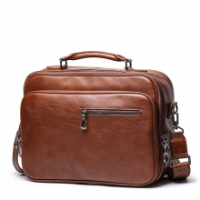 Factory price high end vintage brown real leather laptop bag genuine leather briefcase for men