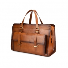 Low price good quality large capacity leather handbag vintage brown leather men briefcase