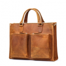 China factory wholesale price good quality brown leather business bag leather briefcase for men