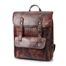 Factory price brand design good quality vintage brown leather backpack bag for school