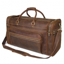 Factory price large capacity retro brown duffle bag crazy horse leather travel bag