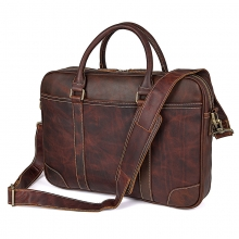 2018 popular design vintage style brown genuine leather laptop briefcase for business men