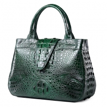 Good quality personal customzied design green crocodile leather handbag for women