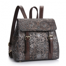 Hot selling cheap price good quality flowers pattern real leather women backpack bag