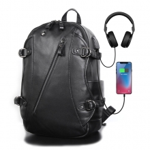 Newest design low price good quality black real leather laptop backpack with USB charging port