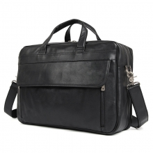 Guangzhou manufacturer custom design black leather men briefcase business travel bag