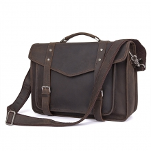 Low price good quality dark brown crazy horse leather messenger designer handbags