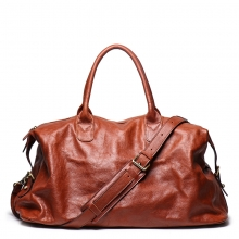 Good quality vintage design brown genuine leather travel bag real leather duffel bag for weekend