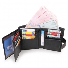 China factory low price good quality black genuine leather rfid cards wallets for men bifold