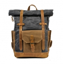 Amazon hot sale good quality canvas school bag leather outdoor backpack for man