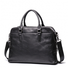 Fashional design high quality genuine leather handbag black leather men briefcase for business
