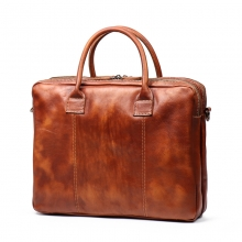 Hot selling good quality genuine leather tote bag retro brown leather men briefcase