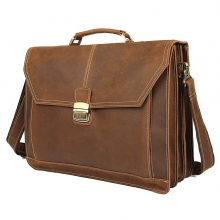 Hot selling high quality vintage brown crazy horse leather laptop bag leather briefcase for men