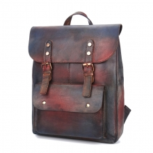 Factory wholesale price new design good quality vintage color leather backpack for student