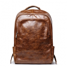 Hot sales good quality vintage brown genuine leather laptop bag real leather backpack for school