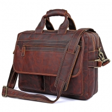 "China manufacturer customzied reddish brown leather 15"" laptop business bag for men"