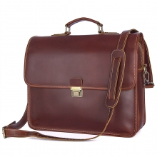 2018 new style good price reddish brown full grain cow leather briefcase business bag for men