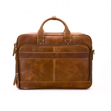 Custom design good quality vintage brown crazy horse leather laptop bag leather briefcase for men
