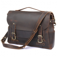 "New arrival good price 14"" laptop bag brown crazy horse leather messenger for men"