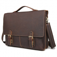 New design good quality vintage brown geuine leather bag cowhide leather briefcase for men