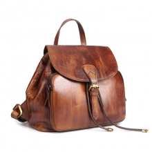 Newest design good quality vintage brown leather women bag student backpack for school