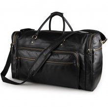 Wholesale price good quality large capacity black leather weekend bag leather duffle bag