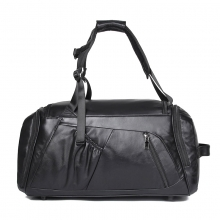 New design good quality black leather fitness bag cowhide leather travel bag with shoes space