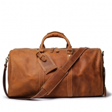 Wholesales price vintage brown genuine leather tavel bag real leather duffel bag with shoes space