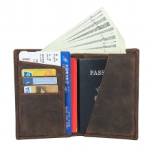 Amazon hot selling good quality genuine leather travel wallet brown leather passport holder