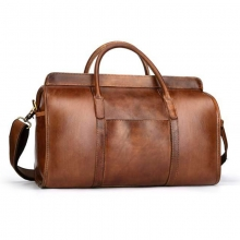 Manufacturer price good quality brown top grain leather duffle bag for business traveling