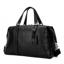 Custom design high quality black nappa leather travel bag genuine leather duffle bag for men